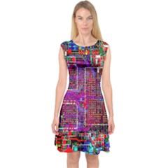 Technology Circuit Board Layout Pattern Capsleeve Midi Dress