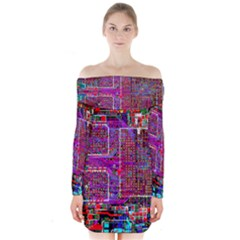 Technology Circuit Board Layout Pattern Long Sleeve Off Shoulder Dress