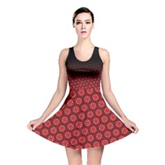 Ombre Black And Red Passion Floral Pattern Reversible Skater Dress