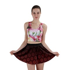 Ombre Black And Red Passion Floral Pattern Mini Skirt
