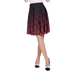 Ombre Black And Red Passion Floral Pattern A Line Skirt