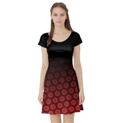 Ombre Black And Red Passion Floral Pattern Short Sleeve Skater Dress