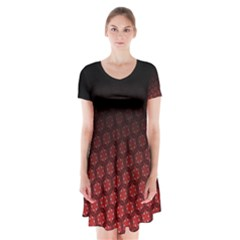 Ombre Black And Red Passion Floral Pattern Short Sleeve V Neck Flare Dress