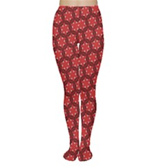 Red Passion Floral Pattern Tights