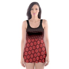 Ombre Black And Red Passion Floral Pattern Skater Dress Swimsuit