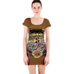 Tattoo Art Print Traditional Artwork Lighthouse Wave Short Sleeve Bodycon Dress