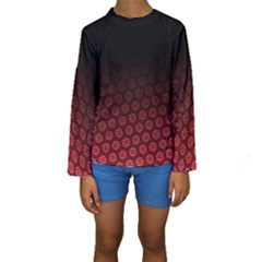 Ombre Black And Red Passion Floral Pattern Kids  Long Sleeve Swimwear