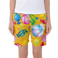 Sweets And Sugar Candies Vector Women s Basketball Shorts
