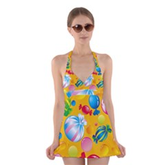 Sweets And Sugar Candies Vector Halter Swimsuit Dress