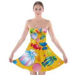 Sweets And Sugar Candies Vector Strapless Bra Top Dress