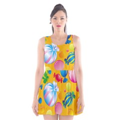 Sweets And Sugar Candies Vector Scoop Neck Skater Dress