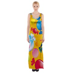 Sweets And Sugar Candies Vector Maxi Thigh Split Dress