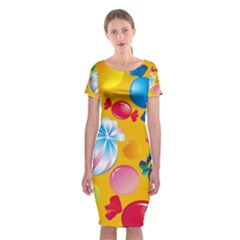Sweets And Sugar Candies Vector Classic Short Sleeve Midi Dress