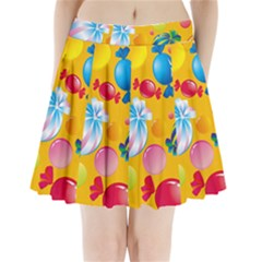 Sweets And Sugar Candies Vector Pleated Mini Skirt