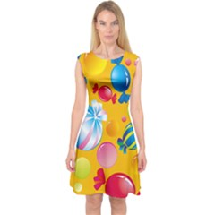 Sweets And Sugar Candies Vector Capsleeve Midi Dress