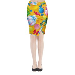 Sweets And Sugar Candies Vector Midi Wrap Pencil Skirt