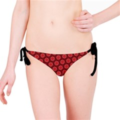 Red Passion Floral Pattern Bikini Bottom