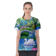 Swan Bird Spring Flowers Trees Lake Pond Landscape Original Aceo Painting Art Women s Sport Mesh Tee