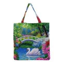 Swan Bird Spring Flowers Trees Lake Pond Landscape Original Aceo Painting Art Grocery Tote Bag
