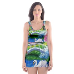 Swan Bird Spring Flowers Trees Lake Pond Landscape Original Aceo Painting Art Skater Dress Swimsuit