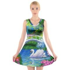 Swan Bird Spring Flowers Trees Lake Pond Landscape Original Aceo Painting Art V-Neck Sleeveless Skater Dress