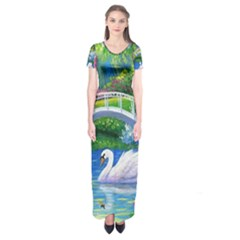 Swan Bird Spring Flowers Trees Lake Pond Landscape Original Aceo Painting Art Short Sleeve Maxi Dress
