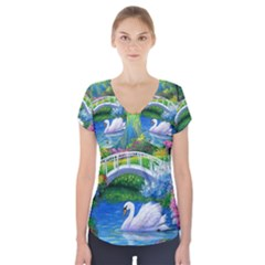 Swan Bird Spring Flowers Trees Lake Pond Landscape Original Aceo Painting Art Short Sleeve Front Detail Top
