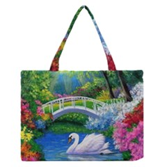 Swan Bird Spring Flowers Trees Lake Pond Landscape Original Aceo Painting Art Medium Zipper Tote Bag
