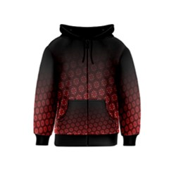Ombre Black And Red Passion Floral Pattern Kids  Zipper Hoodie