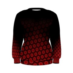 Ombre Black And Red Passion Floral Pattern Women s Sweatshirt