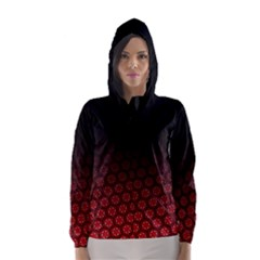 Ombre Black And Red Passion Floral Pattern Hooded Wind Breaker (women)
