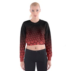 Ombre Black And Red Passion Floral Pattern Women s Cropped Sweatshirt