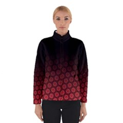 Ombre Black And Red Passion Floral Pattern Winter Jacket