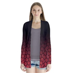 Ombre Black And Red Passion Floral Pattern Drape Collar Cardigan