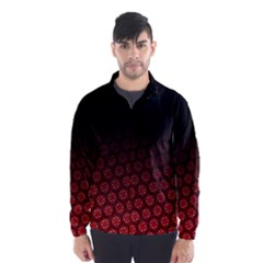 Ombre Black And Red Passion Floral Pattern Wind Breaker (men)