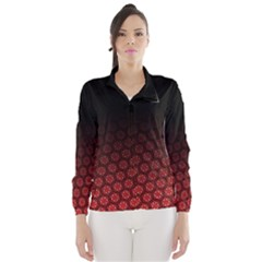 Ombre Black And Red Passion Floral Pattern Wind Breaker (women)