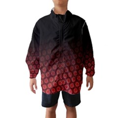 Ombre Black And Red Passion Floral Pattern Wind Breaker (kids)