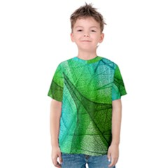 Sunlight Filtering Through Transparent Leaves Green Blue Kids  Cotton Tee