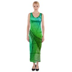 Sunlight Filtering Through Transparent Leaves Green Blue Fitted Maxi Dress