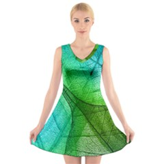 Sunlight Filtering Through Transparent Leaves Green Blue V-Neck Sleeveless Skater Dress