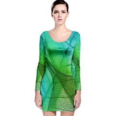 Sunlight Filtering Through Transparent Leaves Green Blue Long Sleeve Velvet Bodycon Dress