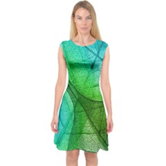 Sunlight Filtering Through Transparent Leaves Green Blue Capsleeve Midi Dress