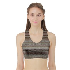 Stripy Knitted Wool Fabric Texture Sports Bra with Border