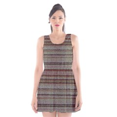 Stripy Knitted Wool Fabric Texture Scoop Neck Skater Dress
