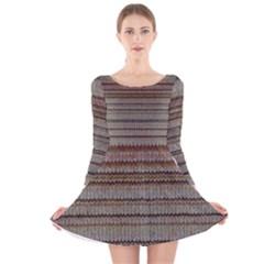 Stripy Knitted Wool Fabric Texture Long Sleeve Velvet Skater Dress