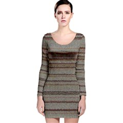 Stripy Knitted Wool Fabric Texture Long Sleeve Velvet Bodycon Dress