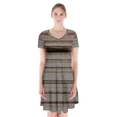 Stripy Knitted Wool Fabric Texture Short Sleeve V-neck Flare Dress