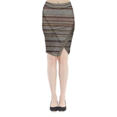 Stripy Knitted Wool Fabric Texture Midi Wrap Pencil Skirt