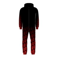 Ombre Black And Red Passion Floral Pattern Hooded Jumpsuit (kids)