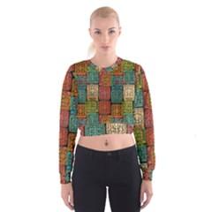 Stract Decorative Ethnic Seamless Pattern Aztec Ornament Tribal Art Lace Folk Geometric Background C Women s Cropped Sweatshirt
